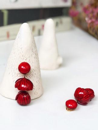 Boucles rouges fantaisie haut de gamme Ciléa bijoux