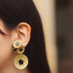 Boucles d'oreilles Kyoto dorée et noires
