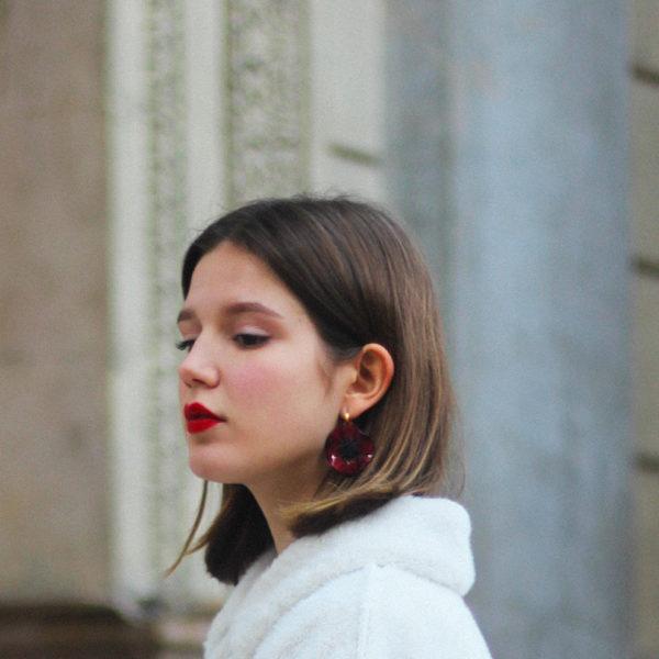 Colorful costume jewellery Anemones earrings by Ciléa Paris