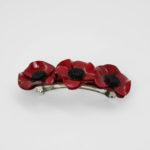 barrette fleurie anemone rouge